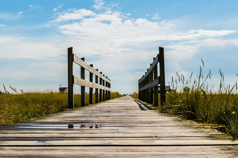 Bild zeigt: Eine Holzbrücke mit Geländer an einem Ufer