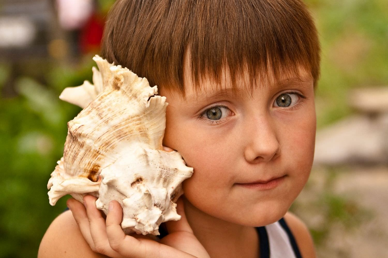 Bild zeigt: Portrait eines neugierigen Jungen mit einer großen Seemuschel am Ohr