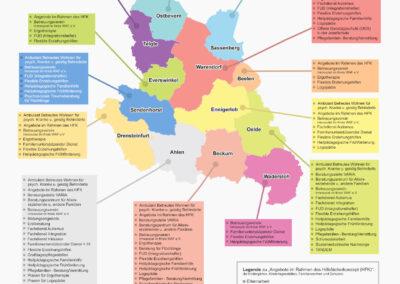 Bild zeigt: Grafische Darstellung aller Fachdienste und Angebote im Kreis Warendorf — Übersichtskarte