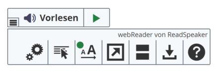 Bild zeigt: Toolbar des Readspeakers