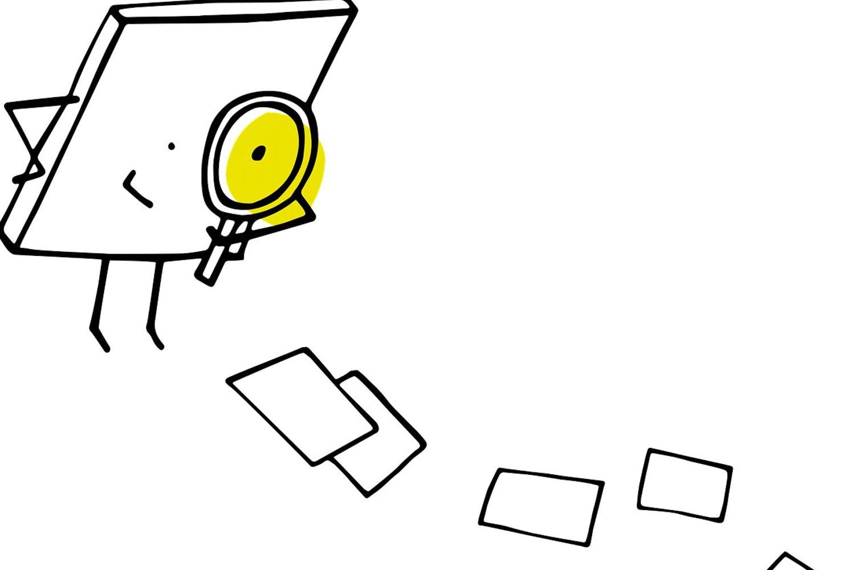 Bild zeigt: Strichmännchen mit Lupe und Papiere auf dem Boden