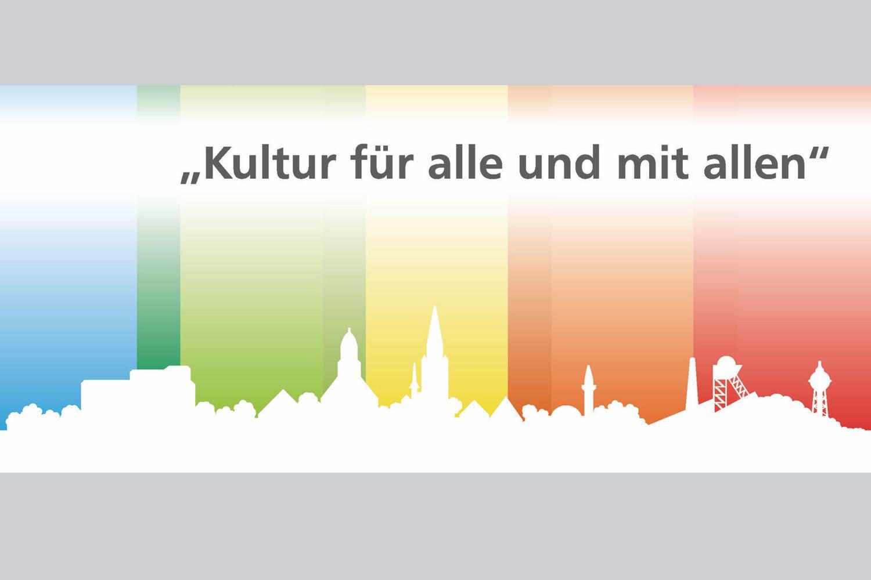 Bild zeigt: Stadtsilhouette Ahlen mit Schriftzug Kultur für alle und mit allen